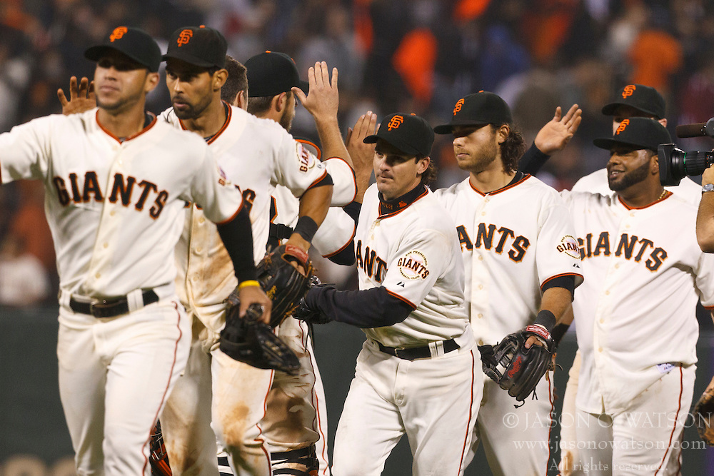 SAN FRANCISCO, CA - JUNE 28: Members of the San Francisco Giants celebrate after the game against the Cincinnati Reds at AT&T Park on June 28, 2012 in San Francisco, California. The win marked the a franchise record fourth consecutive shutout as the San Francisco Giants defeated the Cincinnati Reds 5-0. (Photo by Jason O. Watson/Getty Images) *** Local Caption ***