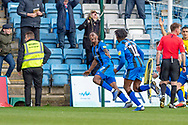 Gillingham FC forward Brandon Hanlan (7) scores a goal (1-0) and celebrates with team mates during the EFL Sky Bet League 1 match between Gillingham and Oxford United at the MEMS Priestfield Stadium, Gillingham, England on 9 March 2019.