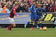AFC Wimbledon striker Lyle Taylor (33) dribbling  during the EFL Sky Bet League 1 match between AFC Wimbledon and Northampton Town at the Cherry Red Records Stadium, Kingston, England on 10 February 2018. Picture by Matthew Redman.