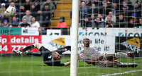 Photo:  Frances Leader.<br /> Charlton v Leicester. FA cup fifth round. <br /> The Valley<br /> 19/02/2005<br /> Leicester's Dion Dublin tries for a goal but misses.