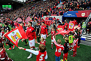 Players emerge from the tunnel before the EFL Sky Bet Championship match between Bristol City and Leeds United at Ashton Gate, Bristol, England on 21 October 2017. Photo by Graham Hunt.