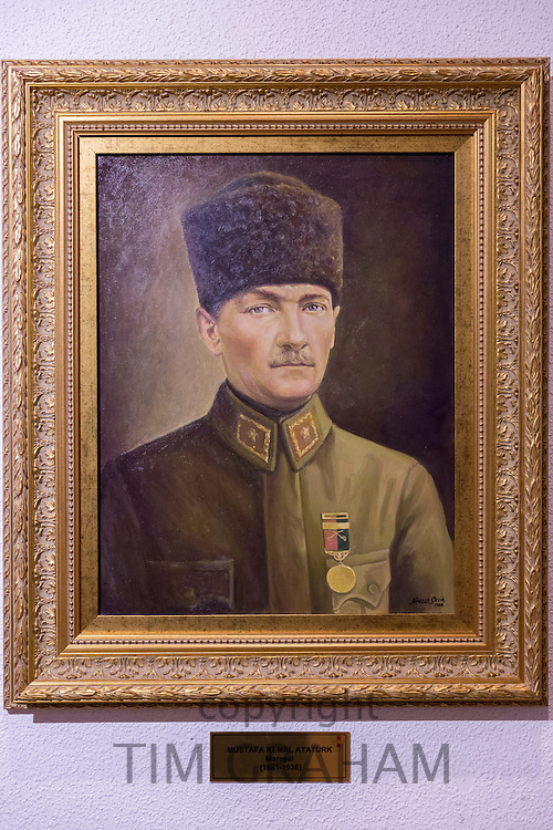 Portrait of Mustafa Kemal Ataturk founder and first President Republic of Turkey. Artist Nevzat Cevik at Military Museum Istanbul