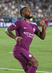 July 26, 2017 - Los Angeles, California, U.S - Raheem Sterling #7 of Manchester City celebrates after scoring a goal during their International Champions Cup game with Real Madrid at the Los Angeles Memorial Coliseum in Los Angeles, California on Wednesday July 26, 2017. Manchester City defeats Real Madrid, 4-1. (Credit Image: © Prensa Internacional via ZUMA Wire)
