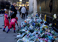 Flower tributes outside Buckingham Palace after  the announcement of the death of the Duke of Edinburgh, Prince Philip.