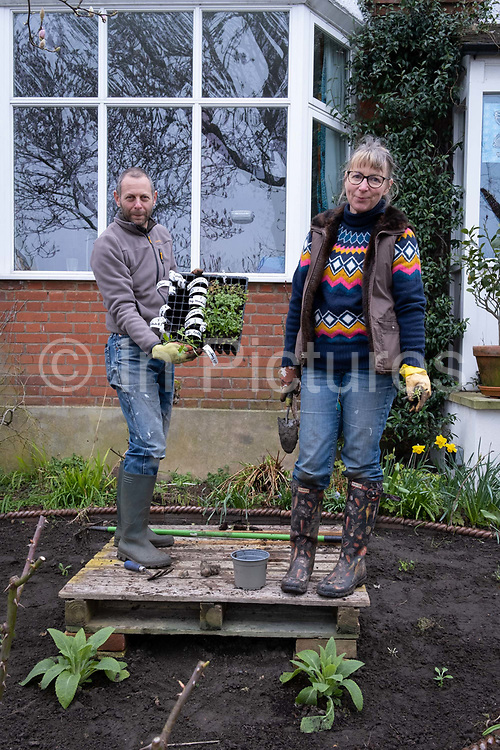 While planting new shrubs into fresh soil, a south London couple stand on a wooden pallet in the middle of their front garden during a weekend refurbishment of their homes front green space, on 14th March 2021, in London, England.