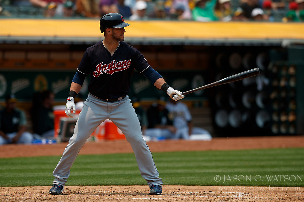 OAKLAND, CA - JULY 01:  Yan Gomes #7 of the Cleveland Indians at bat against the Oakland Athletics during the fourth inning at the Oakland Coliseum on July 1, 2018 in Oakland, California. The Cleveland Indians defeated the Oakland Athletics 15-3. (Photo by Jason O. Watson/Getty Images) *** Local Caption *** Yan Gomes