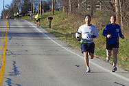 Goshen, New York - Runners compete in the Hambletonian Marathon fun run on Nov. 4, 2012. The run was put together for runners who had trained for the New York City Marathon, which was cancelled because of Hurricane Sandy.
