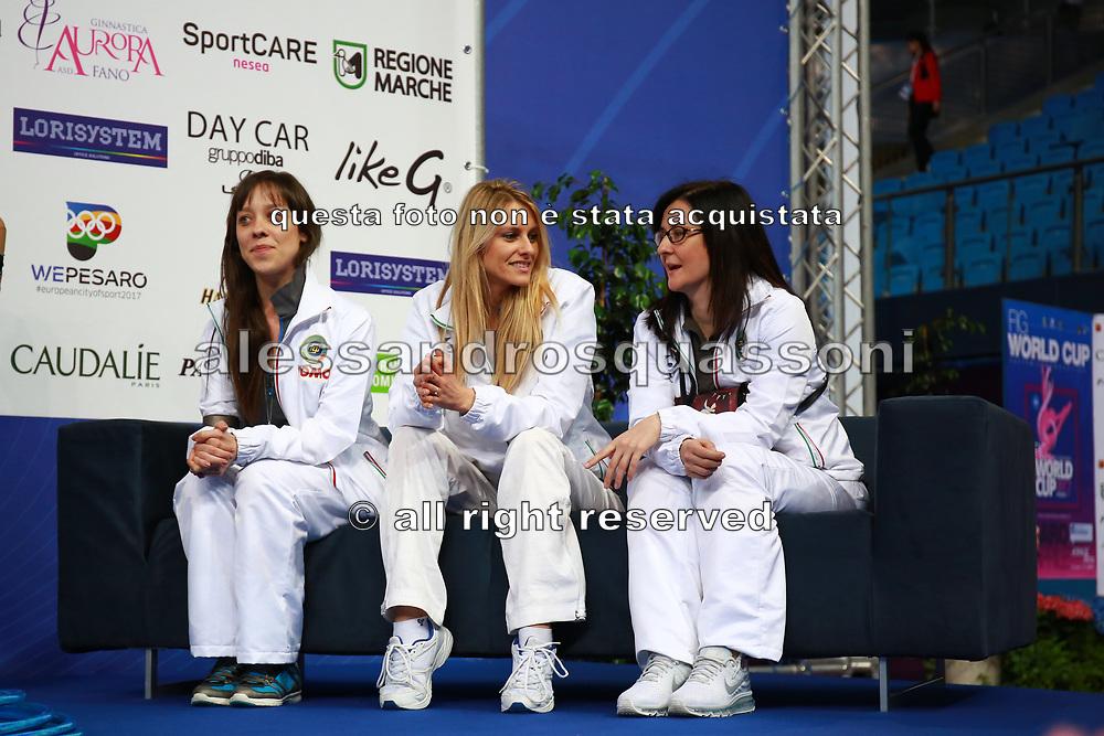 Federica Bagnera, Valentina Rovetta and Olga Tishina on Kiss and Cry at the World Cup Pesaro 2017. Trainers of the Italian rhythmic gymnastics team.