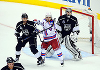 Ishockey , 07 June 2014 Los Angeles Kings defenseman Alec Martinez 27 5300 New York Rangers Right Wing Mats Zuccarello 36  and Los Angeles Kings Goalie Jonathan Quick 32  during Game 2 of The Stanley Cup Final between The New York Rangers and The Los Angeles Kings AT Staples Center in Los Angeles Approx NHL Ice hockey men USA Jun 07 Stanley Cup Final Rangers AT Kings Game 2 <br /> Norway only<br /> INNGÅR IKKE I FASTAVTALER
