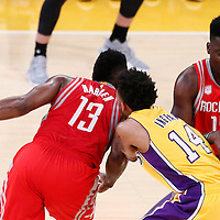 26 October 2016: Houston Rockets guard James Harden (13) drives past Los Angeles Lakers forward Brandon Ingram (14) on a screen set by Houston Rockets center Clint Capela (15) during the Los Angeles Lakers 120-114 victory over the Houston Rockets, at the Staples Center, Los Angeles, California, USA.