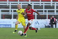 Ryan Broom and Ebou Adams  during the The FA Cup 1st round match between Ebbsfleet and Cheltenham Town at Stonebridge Road, Ebsfleet, United Kingdom on 10 November 2018.