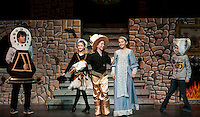"""Cogsworth (Ryan Witham),  Babette (Jacqueline Nash), Lumeire (Taryn Fountain) and Chip (Tyler Brown) invite Belle (Julie Auld) to """"Be Our Guest"""" during dress rehearsal for """"Beauty and the Beast"""" with Gilford Middle School Tuesday afternoon.  (Karen Bobotas/for the Laconia Daily Sun)"""