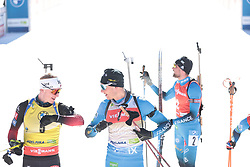 14.02.2021, Center Pokljuka, Pokljuka, SLO, IBU Weltmeisterschaften Biathlon, Sprint, Herren, im Bild boe (johannes thingnes) (nor), jacquelin (emilien) (fra) // during mens Sprint competition of IBU Biathlon World Championships at the Center Pokljuka in Pokljuka, Slovenia on 2021/02/14. EXPA Pictures © 2021, PhotoCredit: EXPA/ Pressesports/ Frederic Mons<br /> <br /> *****ATTENTION - for AUT, SLO, CRO, SRB, BIH, MAZ, POL only*****