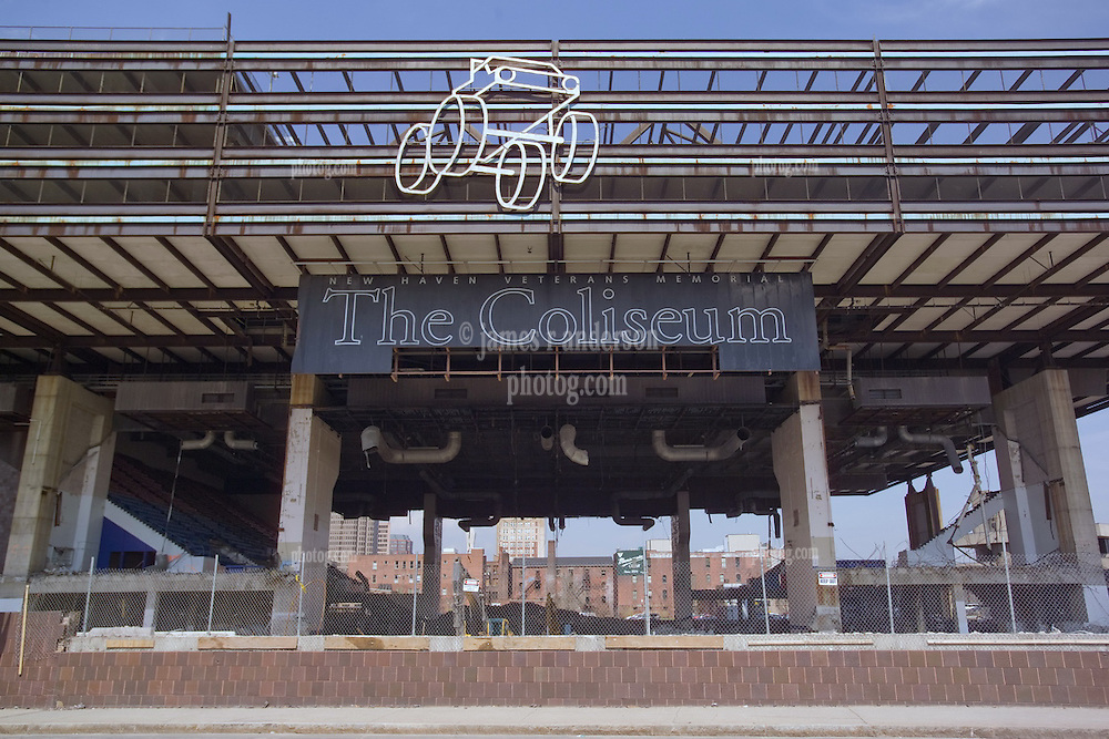 Razing the New Haven Coliseum. Project as seen on 13 April 2006 from street views.