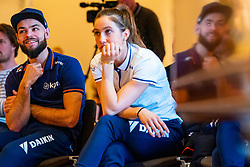 Suzanne Schulting and Sjinkie Knegt during the press conference for ISU World Cup Finals Shorttrack 2020 on February 12, 2020 in Museum Dordrecht.