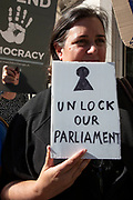 Protesters outside The Supreme Court as the first day of the hearing to rule on the legality of suspending or proroguing Parliament begins on September 17th 2019 in London, United Kingdom. The ruling will be made by 11 judges in the coming days to determine if the action of Prime Minister Boris Johnson to suspend parliament and his advice to do so given to the Queen was unlawful.