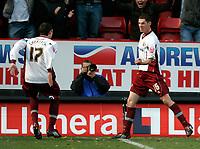 Photo: Tom Dulat/Sportsbeat Images.<br /> <br /> Charlton Athletic v Burnley. Coca Cola Championship. 01/12/2007.<br /> <br /> Burnley's Chris McCann (R) scores second goal. Burnley leads 2-0. Celebrates with him Kyle Lafferty (L)