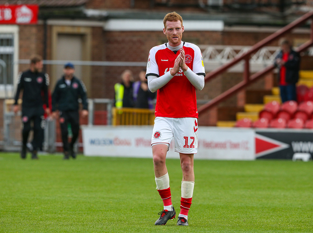 Fleetwood Town's Cian Bolger applauds the fans after the match<br /> <br /> Photographer Alex Dodd/CameraSport<br /> <br /> The EFL Sky Bet League One - Fleetwood Town v Accrington Stanley - Saturday 15th September 2018  - Highbury Stadium - Fleetwood<br /> <br /> World Copyright © 2018 CameraSport. All rights reserved. 43 Linden Ave. Countesthorpe. Leicester. England. LE8 5PG - Tel: +44 (0) 116 277 4147 - admin@camerasport.com - www.camerasport.com