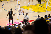 Golden State Warriors guard Stephen Curry (30) defends Houston Rockets guard James Harden (13) in the final seconds of the first half at Oracle Arena in Oakland, Calif., on March 31, 2017. (Stan Olszewski/Special to S.F. Examiner)