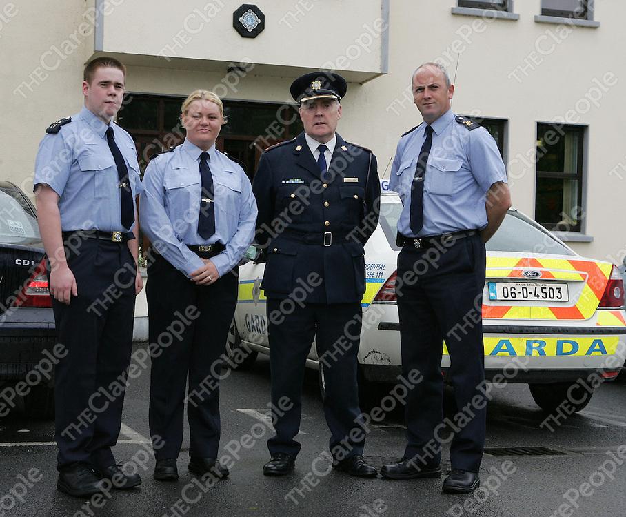 Chief Superintendent Liam Quinn (3rd left) with Community Gardai, Jerome Murphy, Irene O'Flynn and Albert Hardiman of Ennis Garda Station.<br />Picture: Don Moloney / Press 22