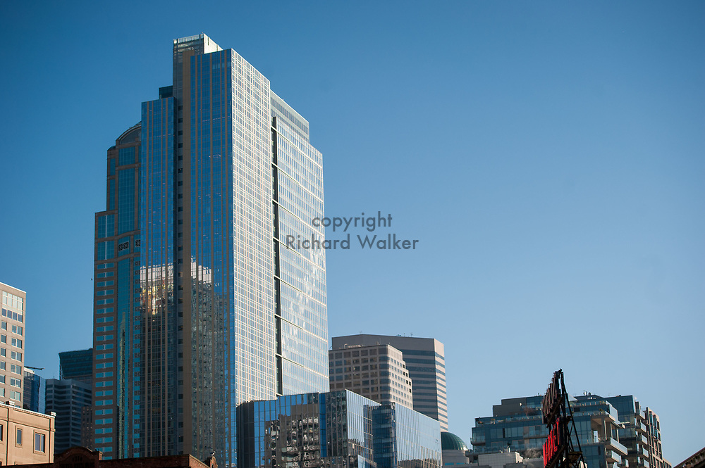 2017 DECEMBER 05 - 1201 3rd Avenue building and Russell Investments Center (right, front), against a blue sky, Seattle, WA, USA. By Richard Walker