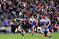 Hull FC outside back Carlos Tuimavave (3) breaks away and scores his second try to make the score 12-24 during the Betfred Super League match between Hull FC and St Helens RFC at Kingston Communications Stadium, Hull, United Kingdom on 16 February 2020.
