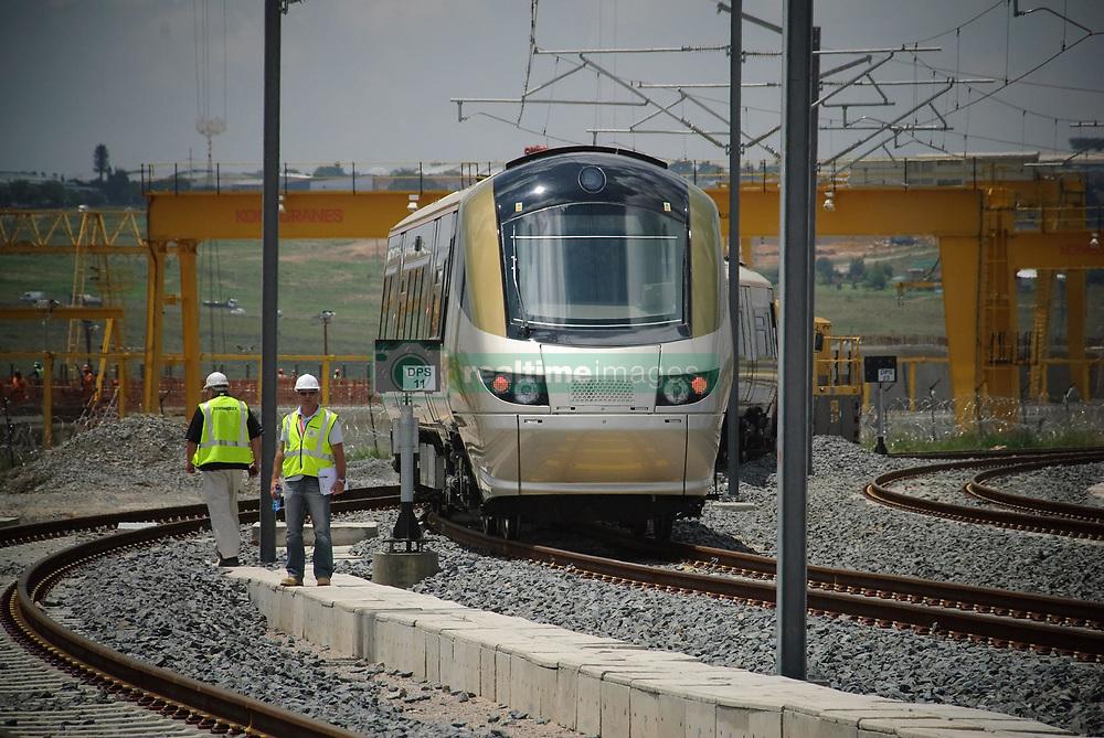 27 January 2009. Gautrain on the test tracks at the depot near Midrand. Picture. Gautrain Rapid Rail Link<br /> <br /> INGRID JENSEN<br /> Gautrain Rapid Rail Link<br /> <br /> E-mail:ingrid@gautrain.co.za<br /> Telephone: (011) 880-9936<br /> Facsimile: (011) 447-9920<br /> Cellular: 083-457-8715