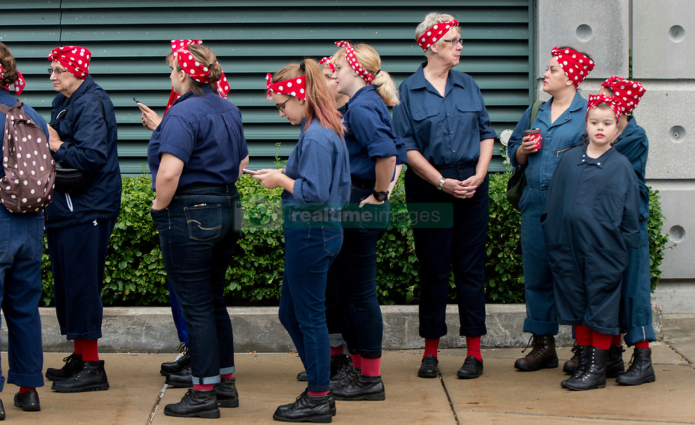 Oct.14, 2017 - Ypsilanti, Michigan, U.S. -  People gather at Eastern Michigan University in an attempt to set  a Guinness World Record for Most Rosie the Riveters. Some 3,755 women, men and children were officially counted, shattering the previous record held by Richmond, California. The world record effort brings attention to the campaign to renovate the Willow Run factory, home of the original Rosie the Riveter during WWII.(Credit Image: © Brian Cahn via ZUMA Wire)
