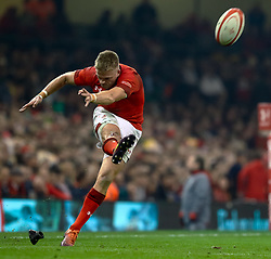 Gareth Anscombe of Wales converts<br /> <br /> Photographer Simon King/Replay Images<br /> <br /> Under Armour Series - Wales v South Africa - Saturday 24th November 2018 - Principality Stadium - Cardiff<br /> <br /> World Copyright © Replay Images . All rights reserved. info@replayimages.co.uk - http://replayimages.co.uk