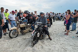 John Landstrom riding his 1928 BMW R62 and Tom Hayes with his Harley-Davidson F during pass through the start on the sands of Daytona Beach at the beginning of stage 1 of the Motorcycle Cannonball Cross-Country Endurance Run, which on this day ran from Daytona Beach to Lake City, FL., USA. Friday, September 5, 2014.  Photography ©2014 Michael Lichter.