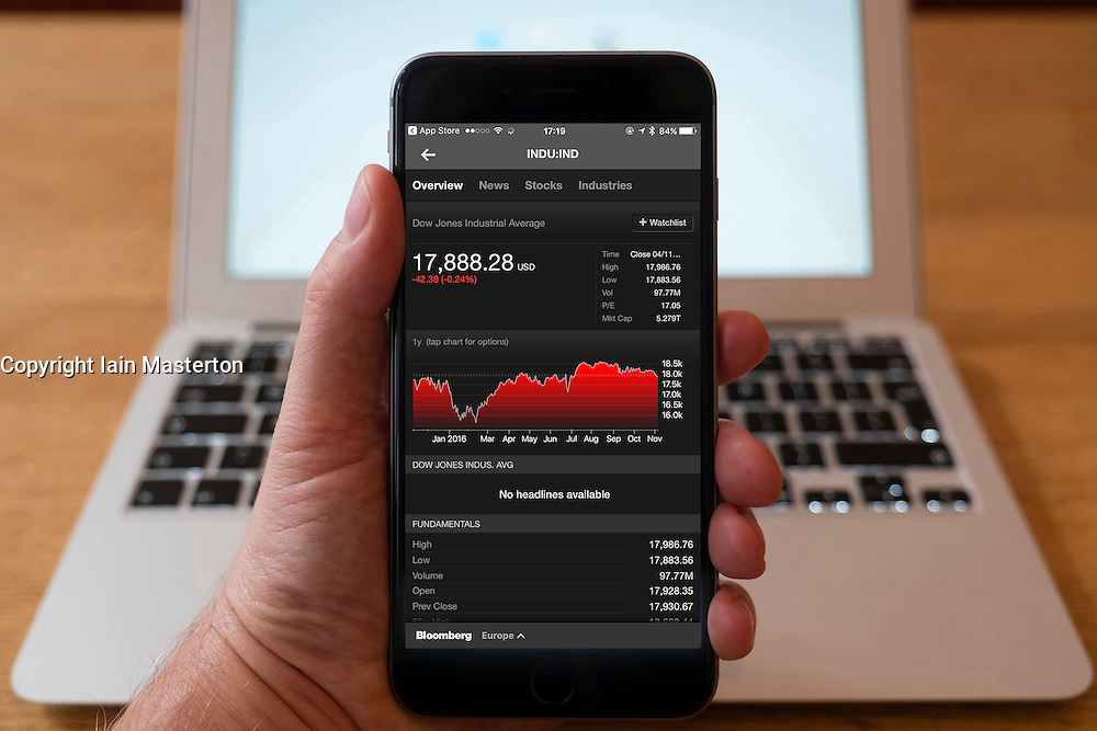 Using iPhone smartphone to display stock market performance chart for Dow Jones Industrial Average index