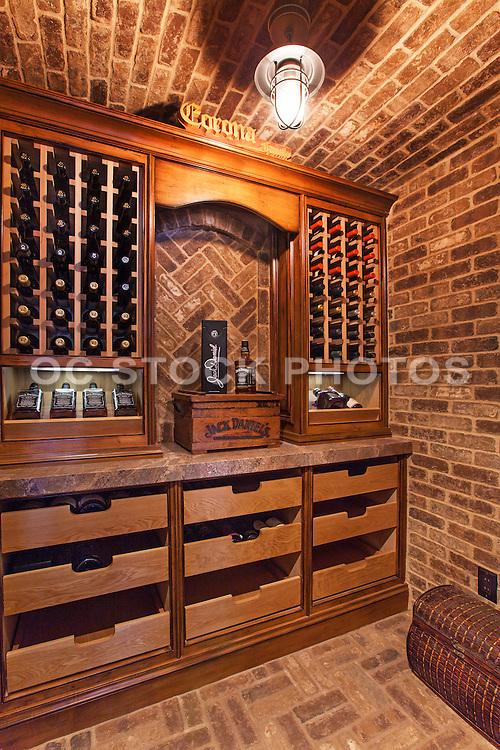 Residential Custom Wine Cellar Stock Photo