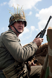 A German Infantry soldier with an MP40 Sub-machine gun machine gun at the Ponderosa Wartime Weekend Heckmondwike day one.<br /> 9th July 2011.<br /> Images © Paul David Drabble