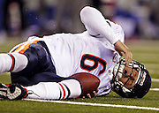 Jay Cutler after being sacked by the Giants' Aaron Ross in the second quarter of the Chicago Bears game against the New York Giants at New Meadowlands Stadium in East Rutherford, N.J. on Sunday, Oct. 3, 2010.<br /> <br /> (Brian Cassella/ Chicago Tribune) B58758773Z.1<br /> ....OUTSIDE TRIBUNE CO.- NO MAGS,  NO SALES, NO INTERNET, NO TV, NEW YORK TIMES OUT, CHICAGO OUT, NO DIGITAL MANIPULATION...