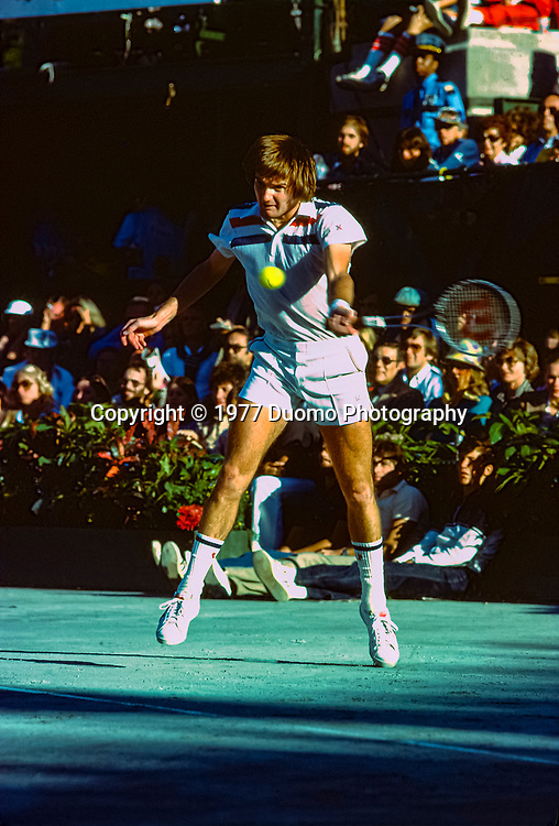 Jimmy Connors (USA) competing at the 1977 US Open Tennis Championships.