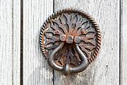 Old iron door handle on church door at Aldham, Suffolk, England, UK