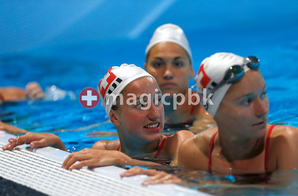 Team Switzerland is performing during a synchronized swimming training session prior to the start of the 15th FINA World Aquatics Championships at the Palau Sant Jordi in Barcelona, Spain, Thursday, July 18, 2013. (Photo by Patrick B. Kraemer / MAGICPBK)