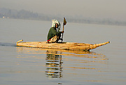 Africa, Ethiopia Man on his boat of Papyrus in Lake Tana