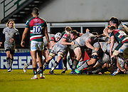 Sale Sharks Curtis Langdon and  flanker Sam Dugdale roll off the back of a maul during a Gallagher Premiership Round 7 Rugby Union match, Friday, Jan. 29, 2021, in Leicester, United Kingdom. (Steve Flynn/Image of Sport)