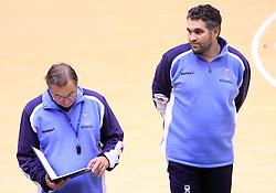 Head coach Miro Pozun and Boris Denic at practice of Slovenian handball men national team before going to Israel, on October 27, 2008 in Lasko, Slovenia. (Photo by Vid Ponikvar / Sportal Images)