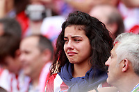 A fan of Atletico de Madrid cries at the end of the last match of the Atletico in the Vicente Calderon Stadium before its demolition. May 21,2017. (ALTERPHOTOS/Acero)