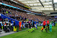BRIGHTON, ENGLAND - MAY 12:    The teams come out of the tunnel ahead of kick off the Premier League match between Brighton & Hove Albion and Manchester City at American Express Community Stadium on May 12, 2019 in Brighton, United Kingdom. (MB Media)