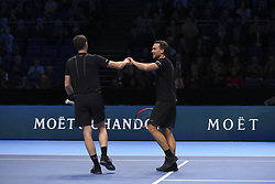 November 15, 2017 - London, England, United Kingdom - Jamie Murray of Great Britain and Bruno Soares of Brazil celebrates during the doubles match against Ivan Dodig of Croatia and Marcel Granollers of Spain on day four of the 2017 Nitto ATP World Tour Finals at O2 Arena, London on November 15, 2017. (Credit Image: © Alberto Pezzali/NurPhoto via ZUMA Press)