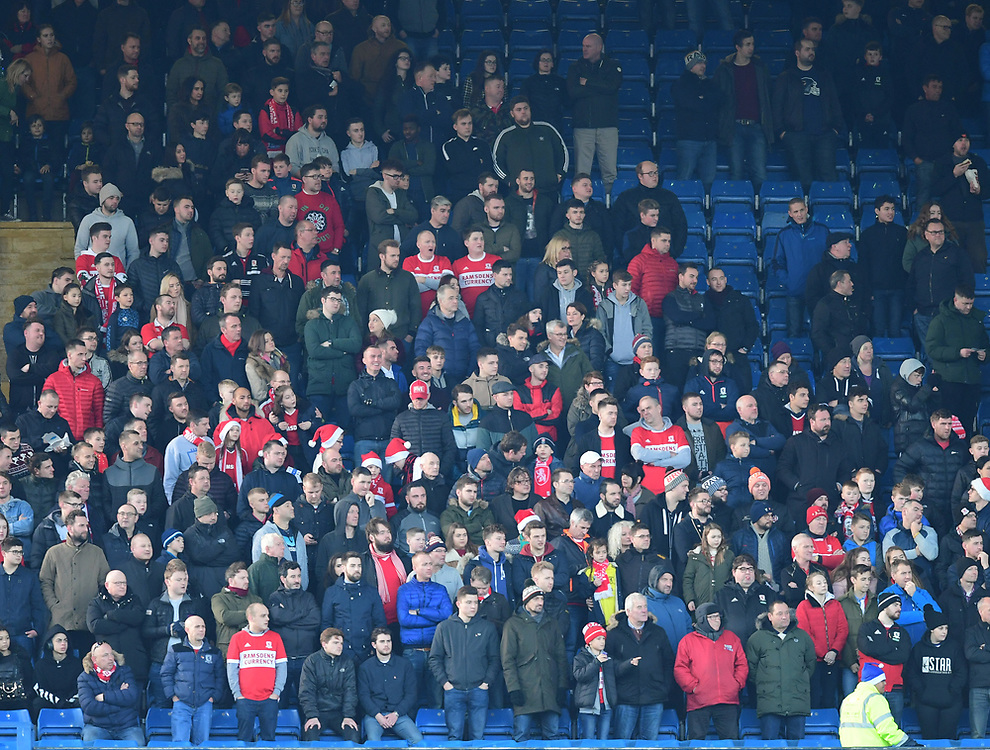 Middlesbrough fans watch their team in action <br /> <br /> Photographer Chris Vaughan/CameraSport<br /> <br /> The EFL Sky Bet Championship - Sheffield Wednesday v Middlesbrough - Saturday 23rd December 2017 - Hillsborough - Sheffield<br /> <br /> World Copyright © 2017 CameraSport. All rights reserved. 43 Linden Ave. Countesthorpe. Leicester. England. LE8 5PG - Tel: +44 (0) 116 277 4147 - admin@camerasport.com - www.camerasport.com