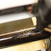 A Troy Tulowitzki  baseball bat is engraved by machine at Tucci Lumber Company, which makes baseball bats. Norwalk, Connecticut, USA. 27th June 2014. Photo Tim Clayton