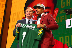 April 26, 2018 - Arlington, TX, U.S. - ARLINGTON, TX - APRIL 26:  Jaire Alexander holds up a jersey and takes photos with NFL Commissioner Roger Goodell after being chosen by the Green Bay Packers with the 18th pick during the first round at the 2018 NFL Draft at AT&T Statium on April 26, 2018 at AT&T Stadium in Arlington Texas.  (Photo by Rich Graessle/Icon Sportswire) (Credit Image: © Rich Graessle/Icon SMI via ZUMA Press)