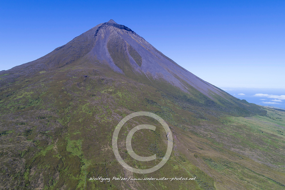 Luftaufnahme von Ponta do Pico, Azoren / Aerial View of Mount Pico, Ponta do Pico, Mount Pico is the highest elevation of the Mid-Atlantic Ridge, Acores