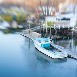 A lobster boat on Sagamore Creek in Portsmouth, New Hampshire. HDR.