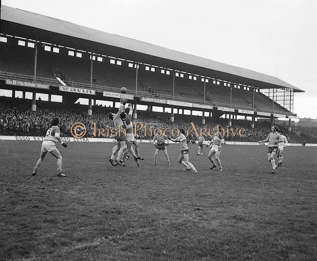 Donegal and Offaly players both jumping for the ball during the All Ireland Senior Gaelic Football Final, Donegal v Offaly in Croke Park on 24 September 1972.