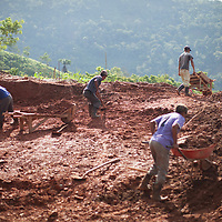 workers dig out the foundations of a new house in Concepción Actelá, Alta Verapaz